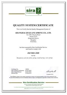 SHANGHAI JIUGUANG SPRING CO.,LTD.- has got the ISO9001:2008 Quality Management system Certificate